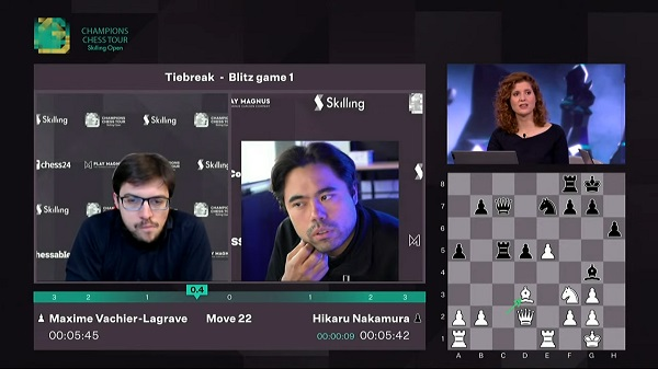 Hikaru Nakamura wins thriller to storm into Skilling Open semis